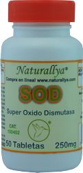 Superoxido Dismutasa SOD 250mg c/50 tabletas